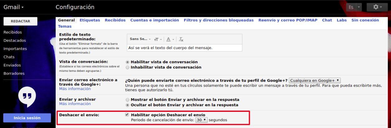 gmail deshacer envio